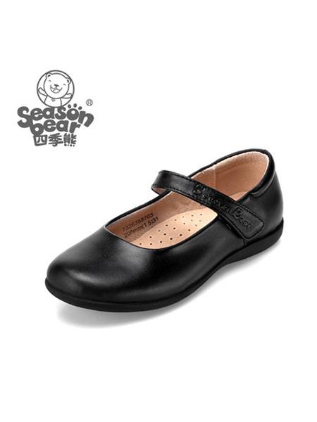 四季熊童鞋品牌2021夏季女童黑皮鞋秋冬真皮女孩子单鞋中大童英伦学生鞋演出鞋