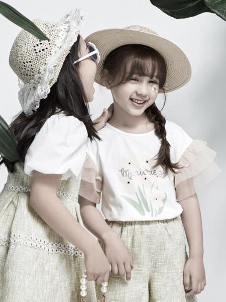 小才宝MT童装品牌2021春夏小清新花朵刺绣T恤