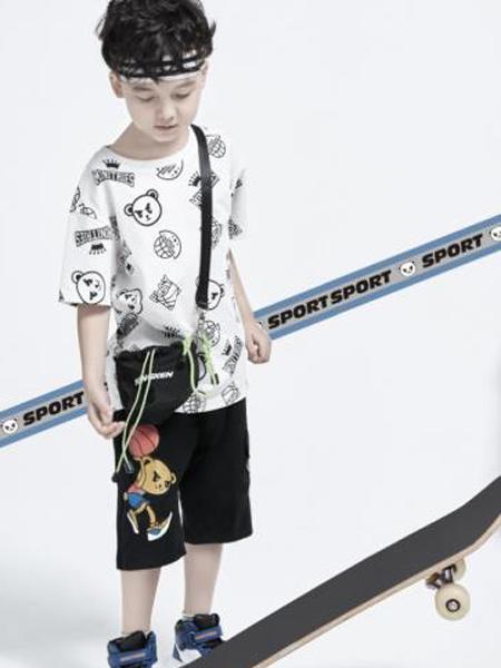 小才宝MT童装品牌2021春夏小熊打球刺绣短裤