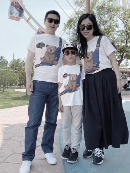 小才宝MT童装品牌2021春夏亲子小熊T恤