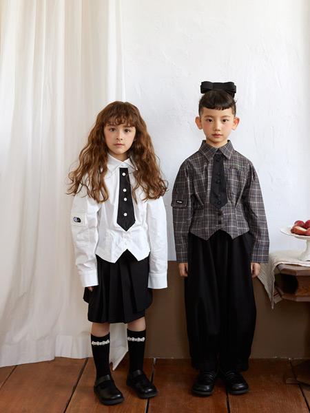 拉酷儿童装品牌2021秋季韩版时尚领带衬衫套装
