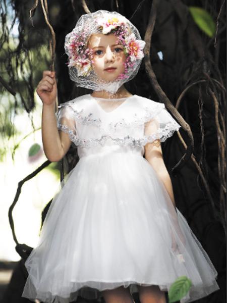 小象Q比童装品牌2021夏季短袖蕾丝V领公主裙