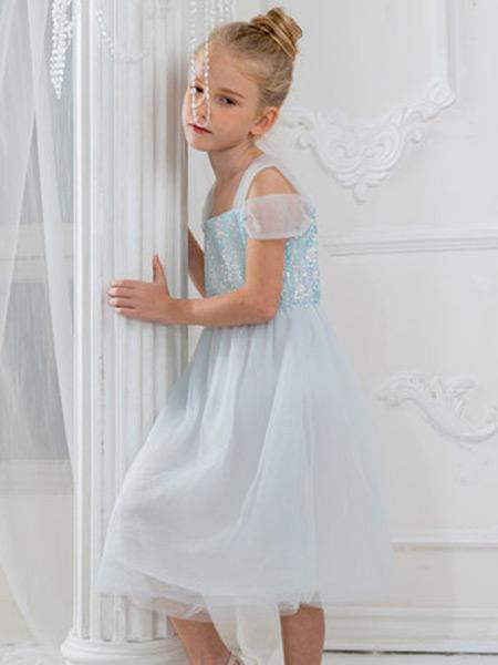 HULILULU呼尼噜噜童装品牌2021秋季小美人鱼裙吊带亮片透明长纱裙