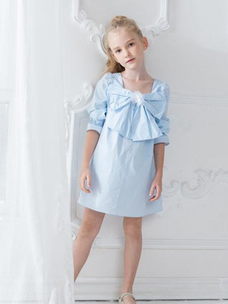 HULILULU呼尼噜噜童装品牌2021秋季新款洋气纯棉儿童公主裙薄款晚礼服