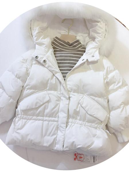 小明星童装品牌2021秋冬白色加绒羽绒服套装