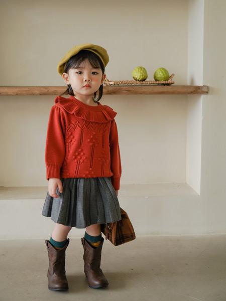 贝蓓茵童装品牌2021秋季红色雪纺印花针织毛衣