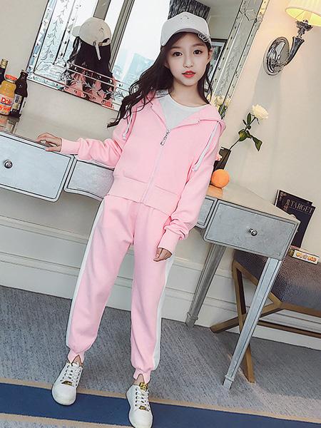 宾果童话童装品牌2021秋季粉色休闲套装