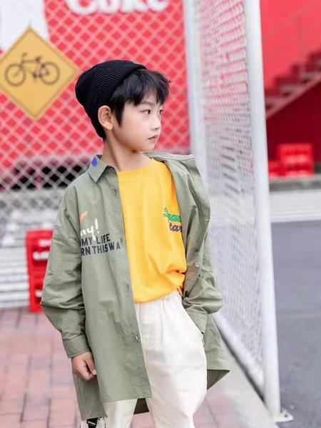 宾果童话童装品牌2021秋季英文刺绣宽松衬衫外套