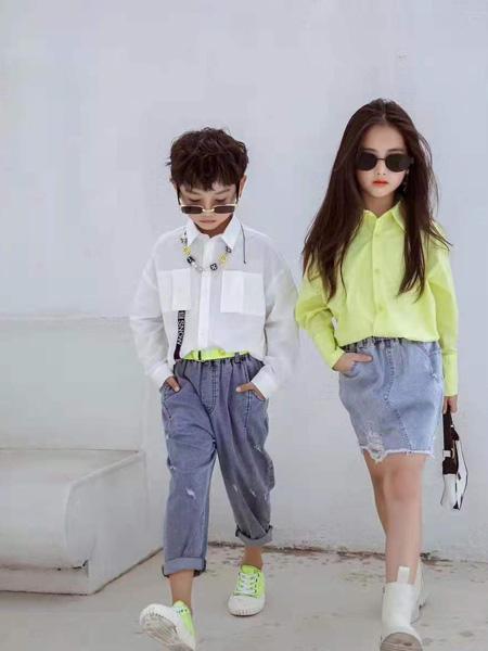 宾果童话童装品牌2021秋季韩版绿色衬衫短裙套装