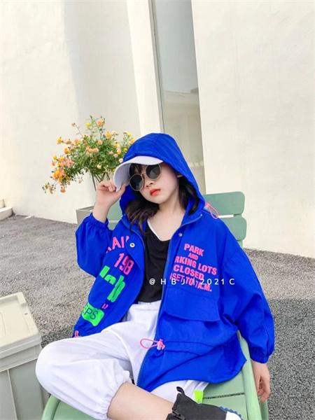 熊猫童年童装品牌2021秋季蓝色英文印花连帽外套