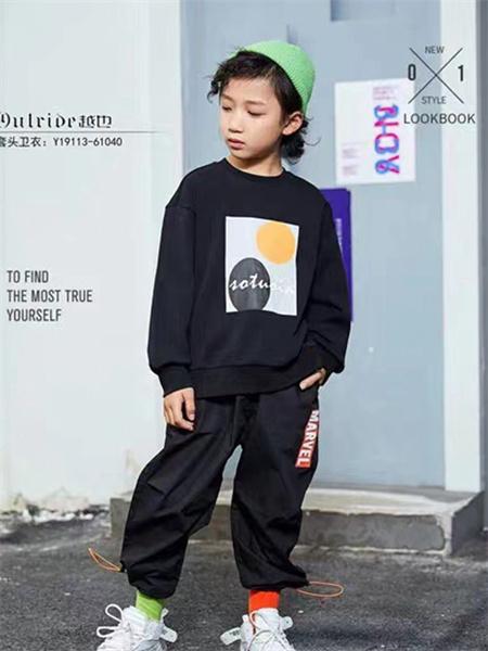 熊猫童年童装品牌2021秋季拼接刺绣印花卫衣套装