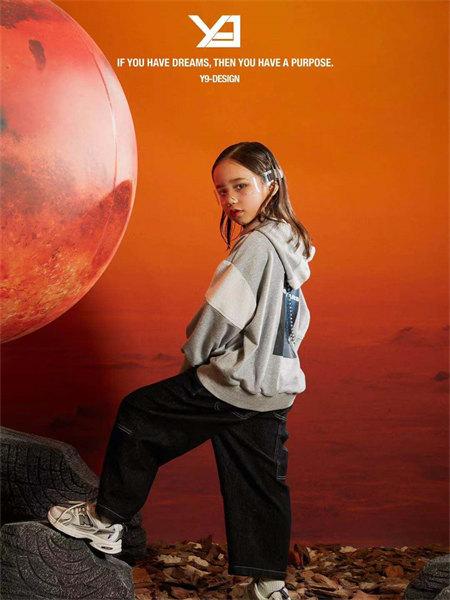 Y-9童装品牌2021秋季休闲印画卫衣套装