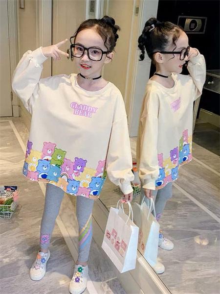 123童装童装品牌2021秋季彩色小熊印花上衣