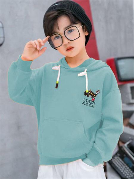 123童装童装品牌2021秋季宽松系带刺绣卫衣套装