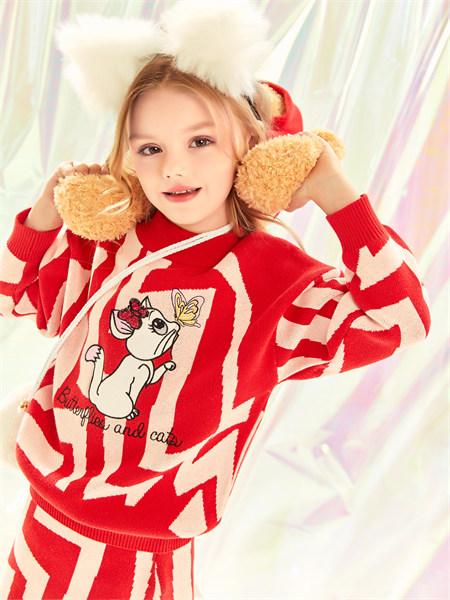 水孩儿souhait童装品牌2021秋季甜美纯棉刺绣针织衫套装