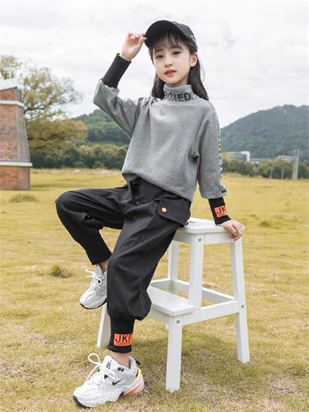 YC.KIDS童装品牌2021秋冬高领英文刺绣针织上衣套装