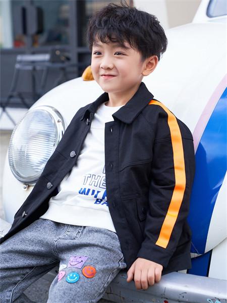 芭乐兔童装品牌2021秋冬翻领补丁刺绣衬衫外套套装