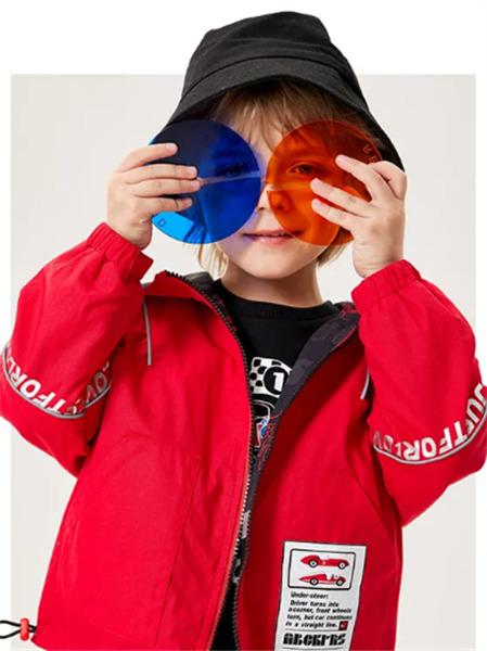 ABC KIDS童装品牌2021秋季红色拼接刺绣印花夹克外套