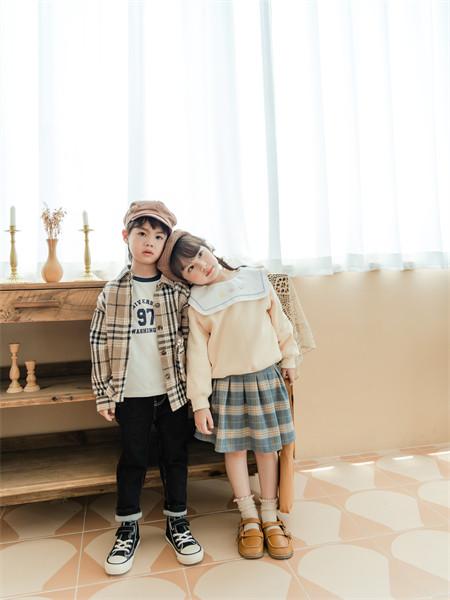 迪士汤姆童装品牌2021秋季时尚格子纹路衬衫