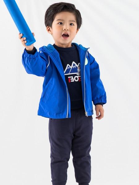 巴布豆(江苏)童装品牌2021秋冬蓝色休闲夹克外套