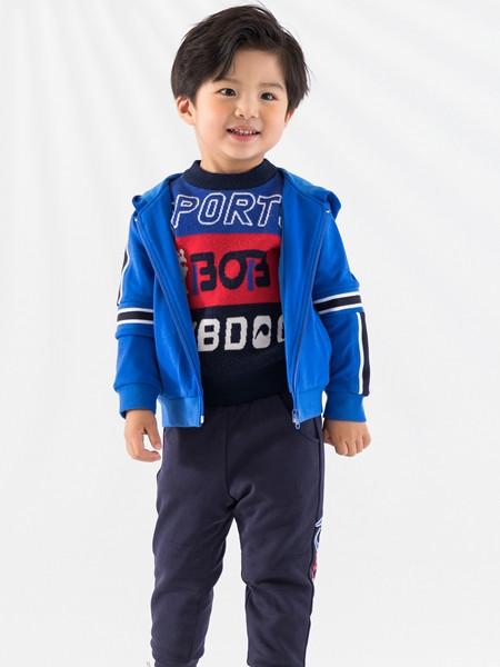 巴布豆(江苏)童装品牌2021秋冬打底撞色拼接英文针织衫