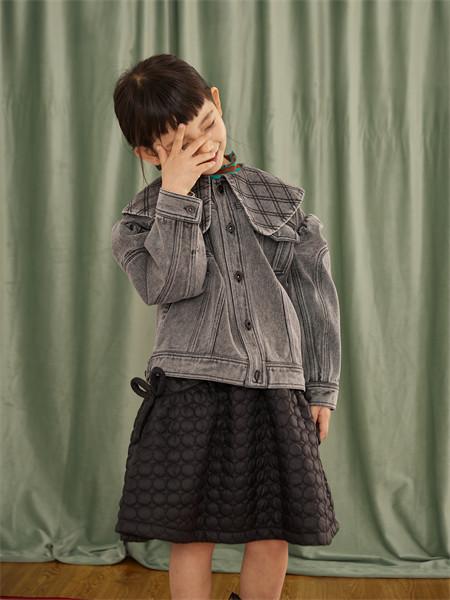 小资范童装品牌2021秋季雪纺纹路刺绣牛仔衬衫外套