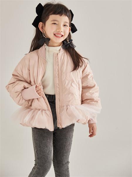 小资范童装品牌2021秋季粉色薄款加绒外套