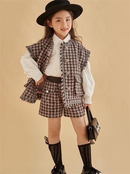 小资范童装品牌2021秋季羊绒针织纹路两件套