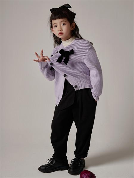 小资范童装品牌2021秋季刺绣蝴蝶结宽松羊绒针织衫