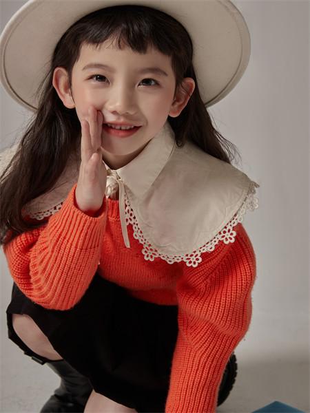 小资范童装品牌2021秋季雪纺纯色针织衫上衣两件套