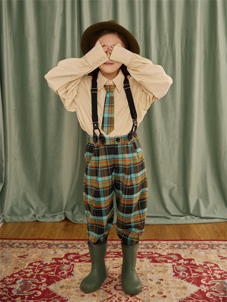 小资范童装品牌2021秋季打底翻褶皱衬衫