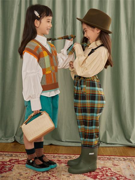 小资范童装品牌2021秋季时尚格子吊带裤