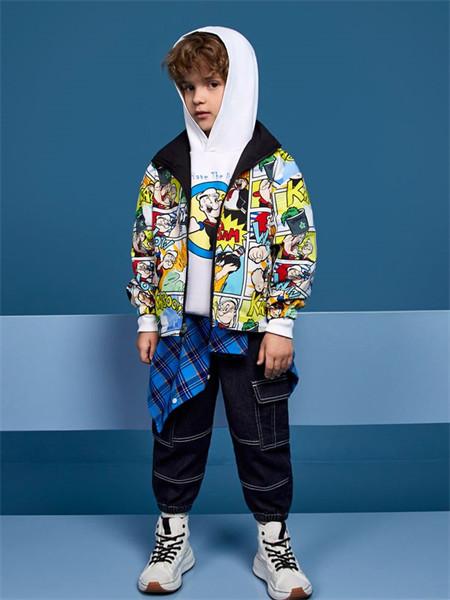MQD童装品牌2021秋季大力水手卡通印花纯棉两件套