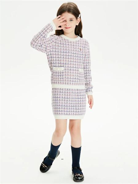 POLO SPORT童装品牌2021秋季圆领纹路羊绒针织连衣裙