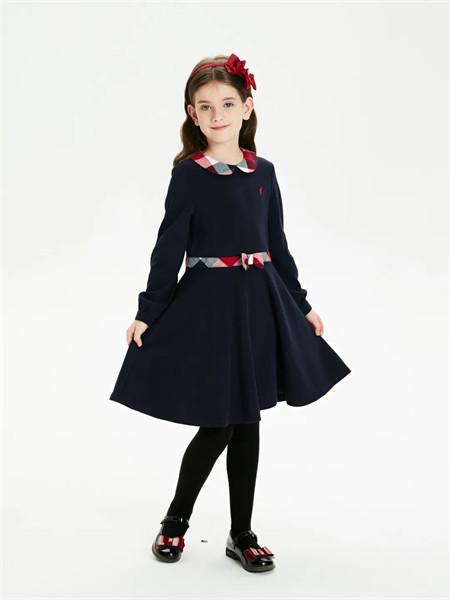 POLO SPORT童装品牌2021秋季撞色翻领系带阔型纯棉连衣裙