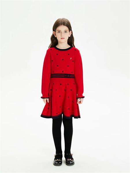 POLO SPORT童装品牌2021秋季圆领修身波点针织连衣裙
