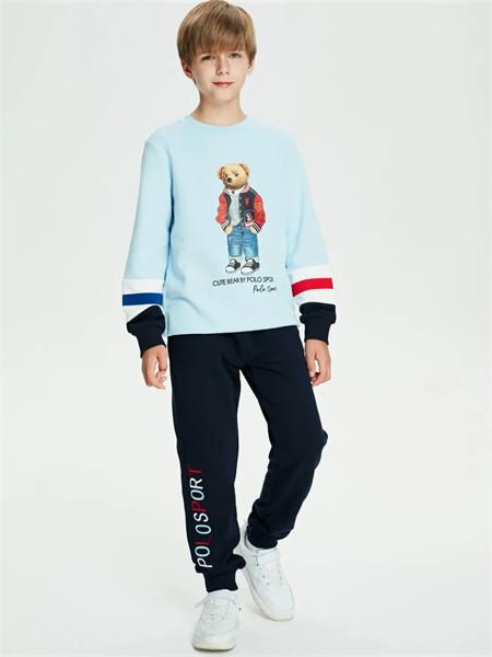 POLO SPORT童装品牌2021秋季小熊刺绣印花上衣
