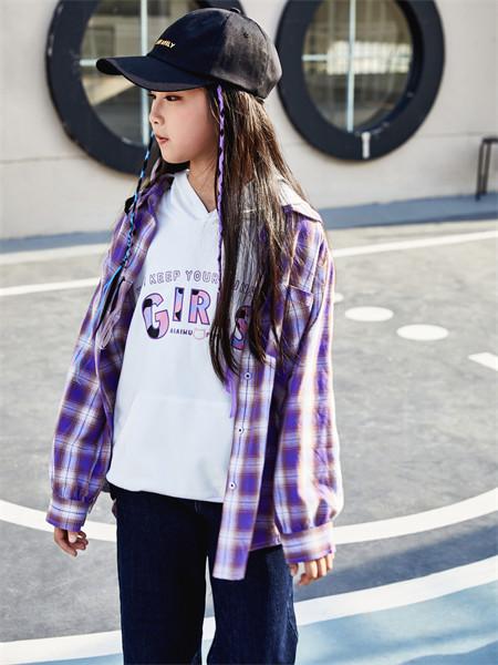 艾艾屋童装品牌2021秋季紫色格子纹路衬衫套装