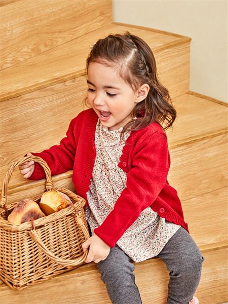 艾艾屋童装品牌2021秋季红色气质针织衫外套