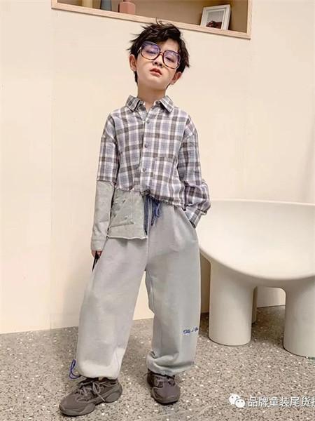 武林兵团童装品牌2021秋季翻领格子印花衬衫套装