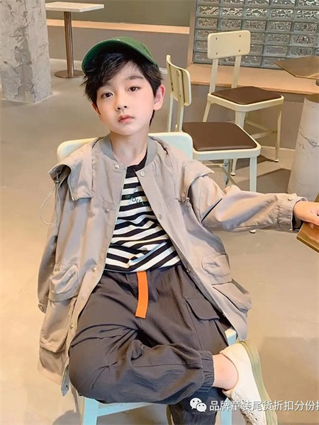 武林兵团童装品牌2021秋季系带连帽风衣外套