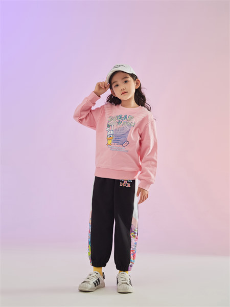 甜心鸭子童装品牌2021秋季新品英文刺绣印花纯棉卫衣