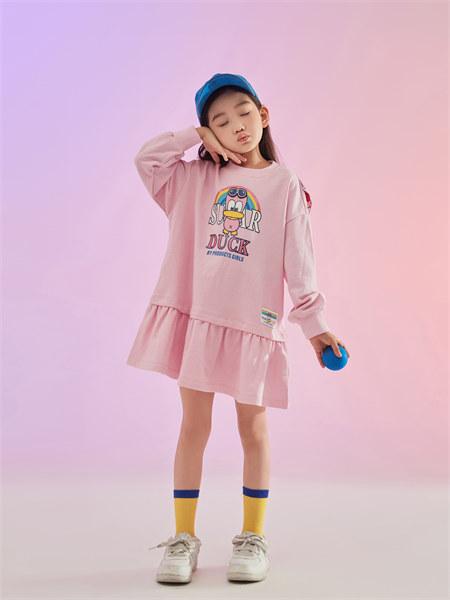 甜心鸭子童装品牌2021秋季新品卡通印花纯棉卫衣裙