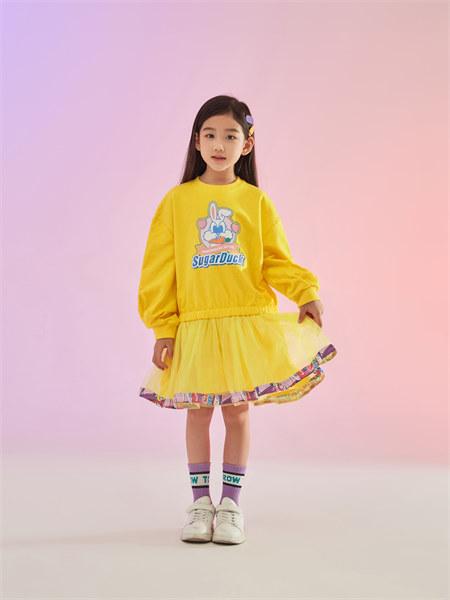 甜心鸭子童装品牌2021秋季新品印花纯棉拼接连衣裙