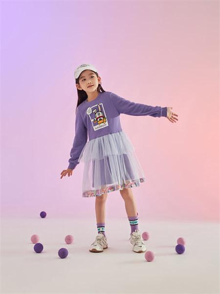 甜心鸭子童装品牌2021秋季新品印花拼接纱纱卫衣裙