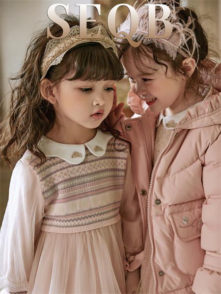小象Q比童装品牌2021秋季翻领条纹针织拼接连衣裙