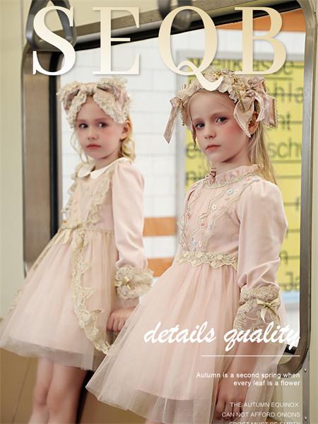小象Q比童装品牌2021秋季蕾丝针织刺绣纱纱连衣裙