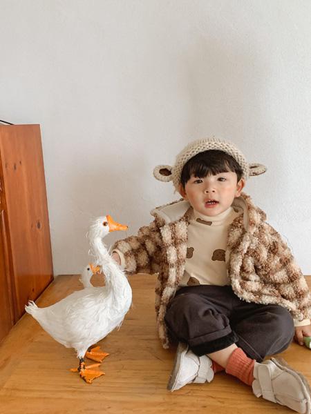 七秒易购童装品牌2021秋冬羊羔毛格子时髦外套