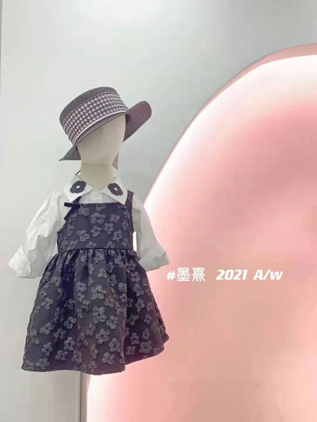 小明星童装品牌2021秋冬吊带印花裙