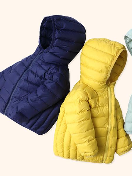 摩米 Mes ami童装品牌2021秋冬黄色连帽轻羽绒服
